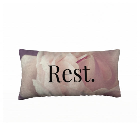 Velveteen 24x12 Pillow Case - Rest. - Matthew 11:28 - Rose