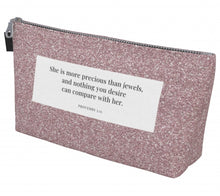 Load image into Gallery viewer, Makeup Bag - Proverbs 3:15 - Sparkle
