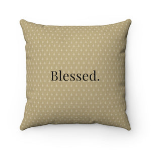 Faux Suede Pillow - Blessed. - Proverbs 10:22 - Brown