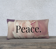 Load image into Gallery viewer, Velveteen 24x12 Pillow Case - Peace. - Psalm 4:8 - Rose