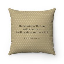 Load image into Gallery viewer, Faux Suede Pillow - Blessed. - Proverbs 10:22 - Brown