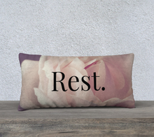 Load image into Gallery viewer, Velveteen 24x12 Pillow Case - Rest. - Matthew 11:28 - Rose