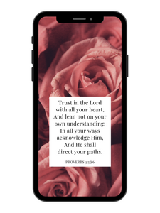 iPhone Wallpaper - Proverbs 3:5&6 - Rose