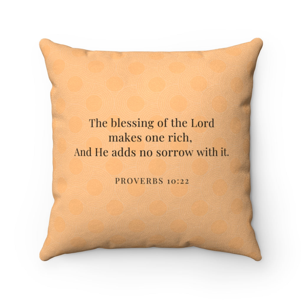 Faux Suede Pillow - Blessed. - Proverbs 10:22 - Orange