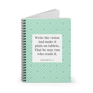 Notebook (Large) - Habakkuk 2:2 - Mint Green