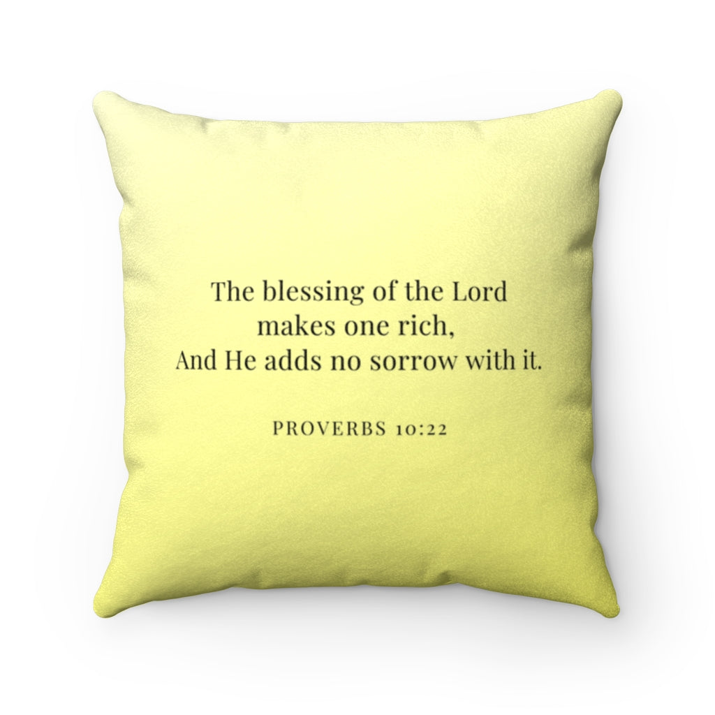 Faux Suede Pillow - Blessed. - Proverbs 10:22 - Yellow