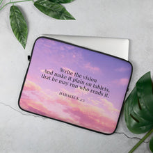 Load image into Gallery viewer, Laptop Sleeve - Habakkuk 2:2 - Cotton Candy Sky