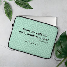 Load image into Gallery viewer, Laptop Sleeve - Matthew 4:19 - Mint Green