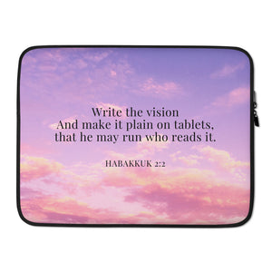 Laptop Sleeve - Habakkuk 2:2 - Cotton Candy Sky