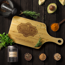 Load image into Gallery viewer, Bamboo Cutting Board with Handle - Scriptural Lifestyle