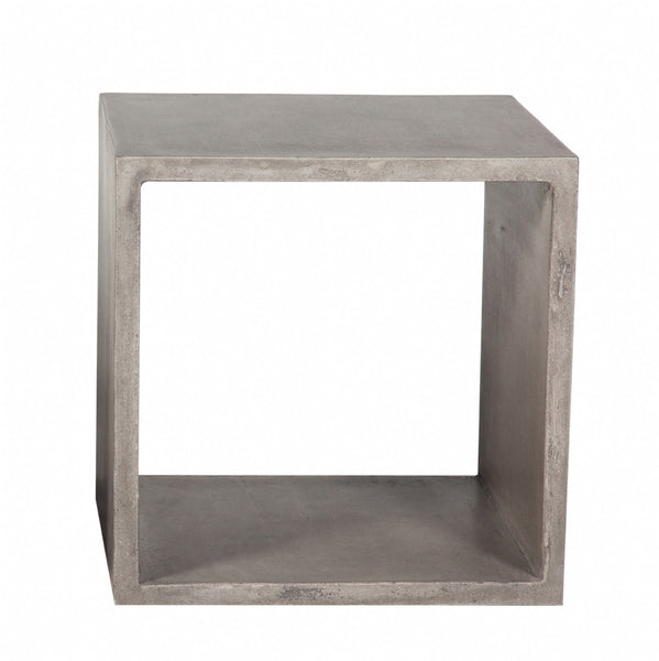 Concrete Square Cube Table - Medium Grey