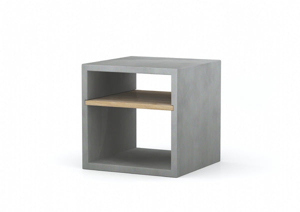 Concrete Square Cube Side Table With Oak Shelf - Medium Grey