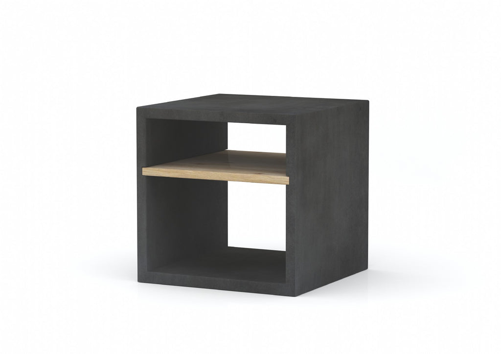 Concrete Square Cube Side Table With Oak Shelf - Dark Grey