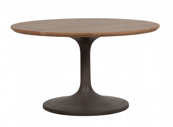 Round Concrete and Oak Dining Table