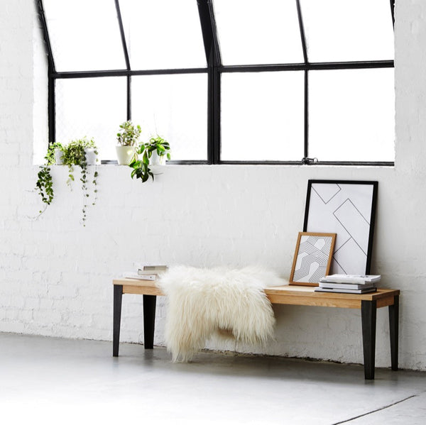 Loft Bench Seat Natural Sage: Industrial M Bench Seat