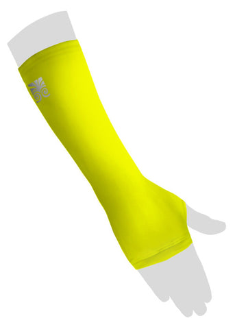 Wrist Sleeves with Thumb Hole - Neon Yellow