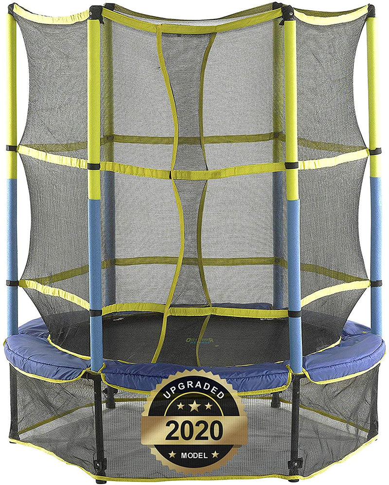 55 in Indoor/Outdoor Trampoline for Kids with Safety Net and Skirt