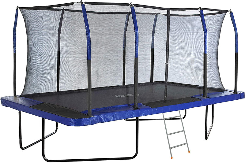 Rectangular Outdoor Trampoline with Fiber Flex Enclosure System & Bonus 3-Step Ladder
