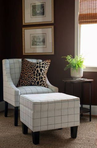 Accent Chair with Matching Ottoman in Window Pane Print