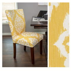 Classic Parsons Dining Chair - Yellow and Cream Damask