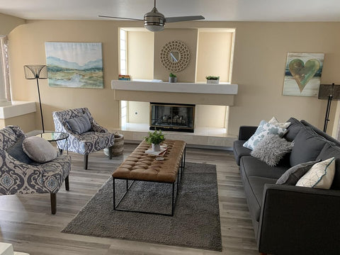 Living Room With Coffee Table Ottoman | Suri Blue Accent Chairs
