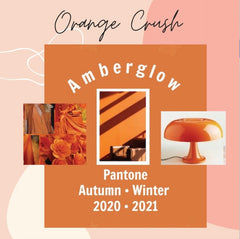 Color Spotlight: Amberglow | Orange mood board with items in orange including a desklamp, flowers, handbag, blouse, and an accent wall