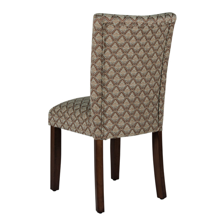 Parsons Dining Chair - Blue and Brown Damask