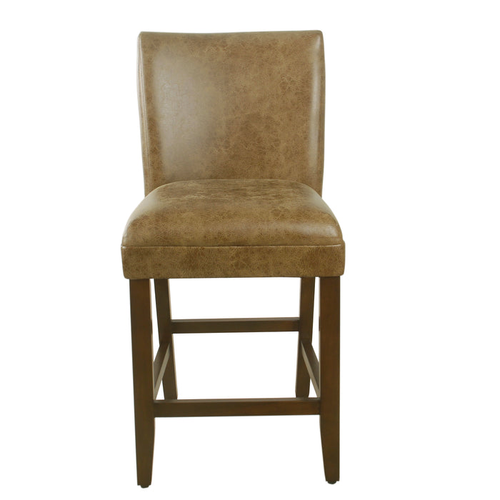 "24"" Barstool - Distressed Brown Faux Leather"