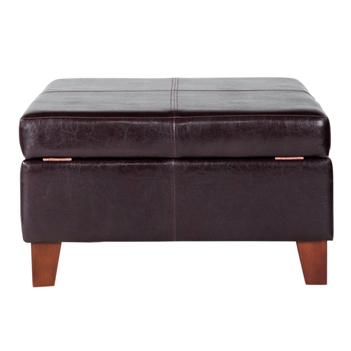 Luxury Large Faux Leather Storage Ottoman - Brown