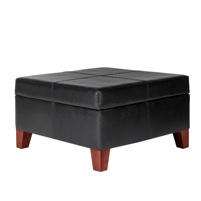 Luxury Large Faux Leather Storage Ottoman - Black