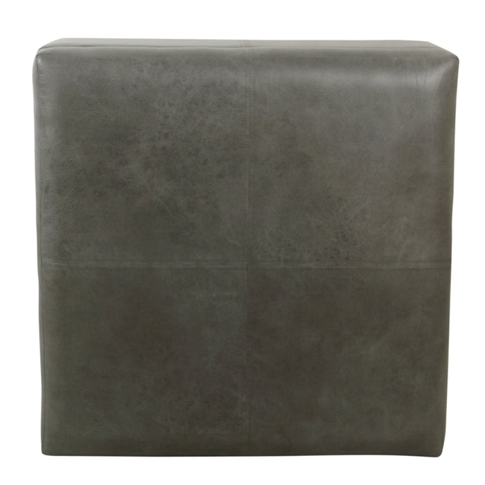 Luxury Large  Faux Leather Storage Ottoman - Gray