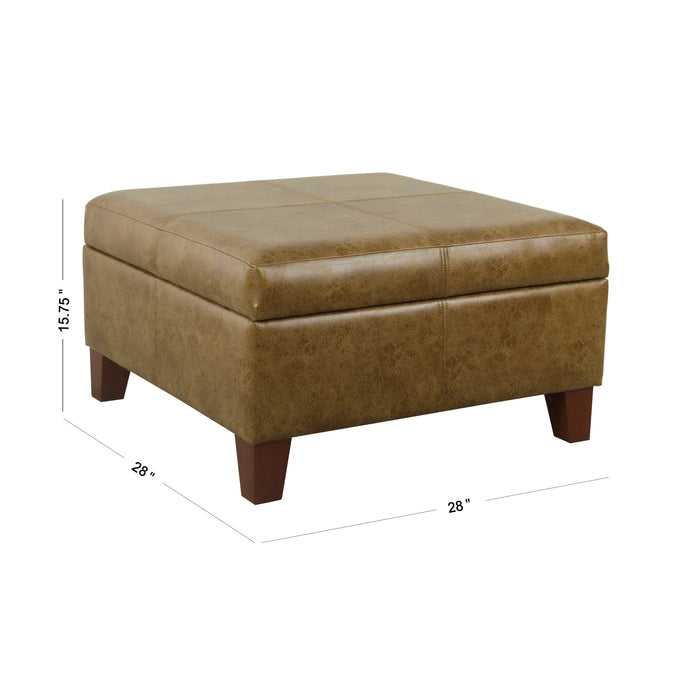 Luxury Large  Faux Leather Storage Ottoman - Distressed Brown Faux Leather