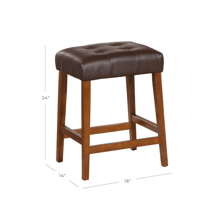 "24"" Faux Leather Square Counter Stool - Brown"