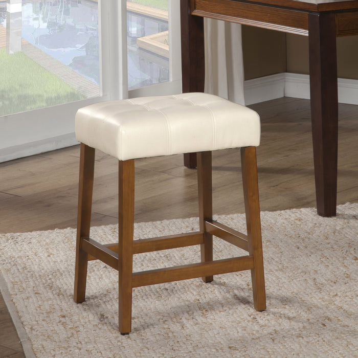 "24"" Faux Leather Square Counter Stool - Cream"