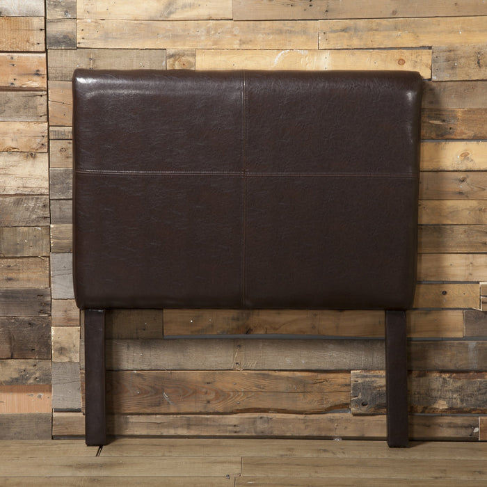 Twin Headboard - Brown Faux Leather