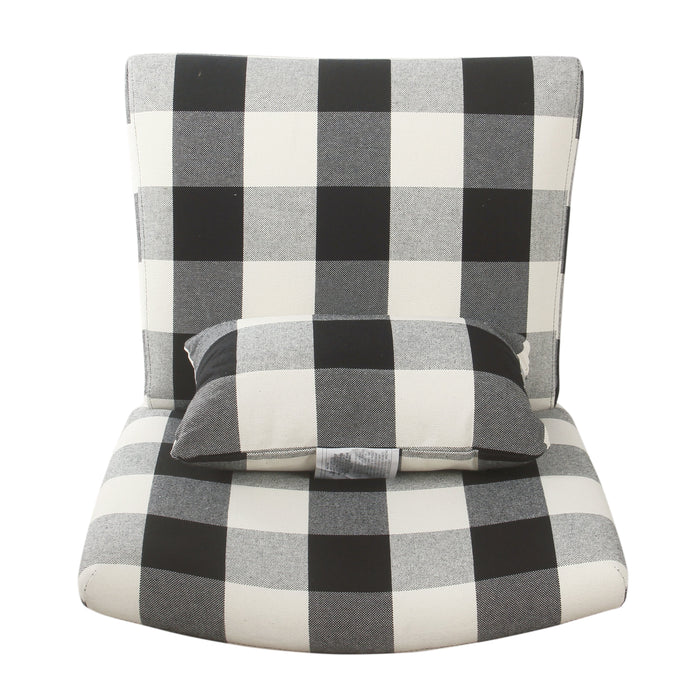 Accent Chair and Pillow - Black Plaid