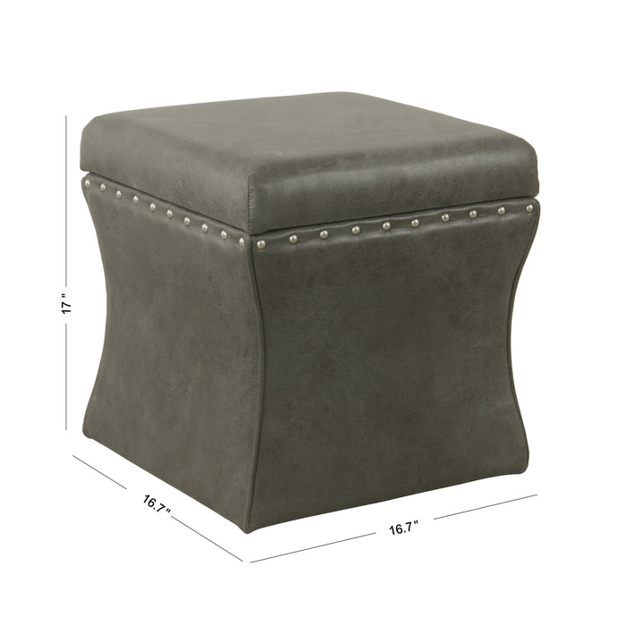 Cinch Storage Ottoman with Nail heads - Gray Faux Leather
