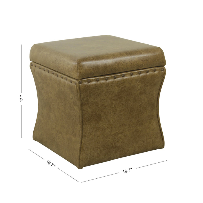 Cinch Storage Ottoman with Nail heads - Distressed  Brown Faux Leather