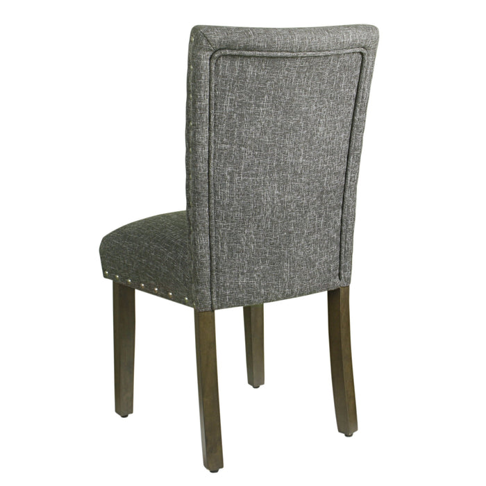 Classic Parsons Chair with Nailhead Trim - Slate Grey - Set of 2