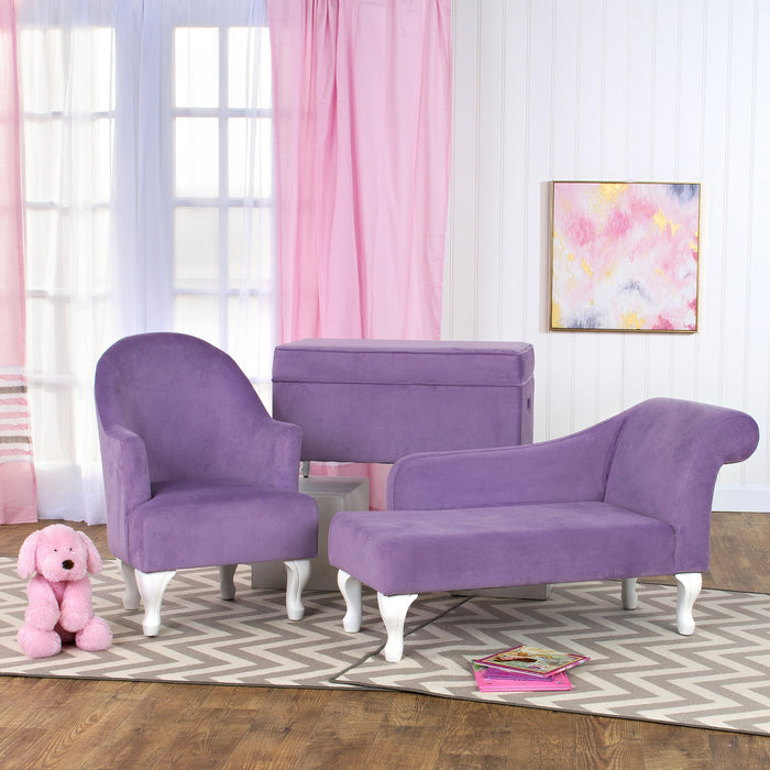 Diva Juvenile Chaise Lounge - Purple Velvet