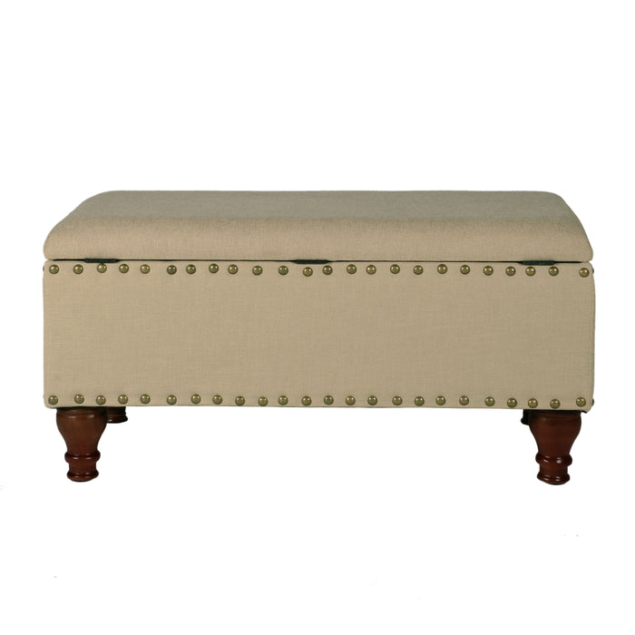 Large Rectangle Storage Bench with Nailhead Trim - Vanilla Linen