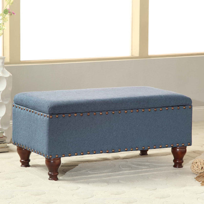 HomePop Large Rectangle Storage Bench with Nailhead Trim -  Blue