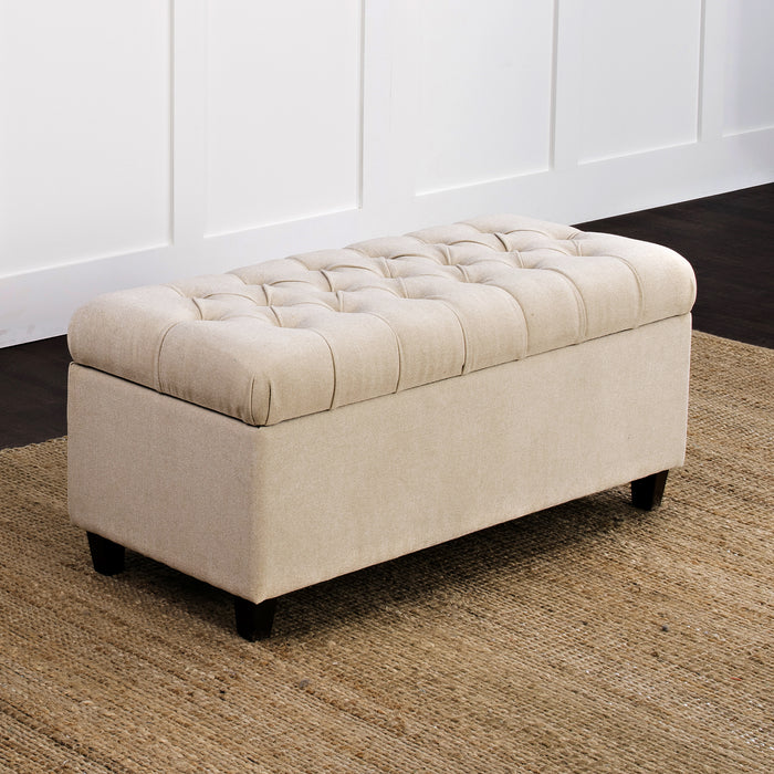 Button Tufted Storage Bench - Textured Cream
