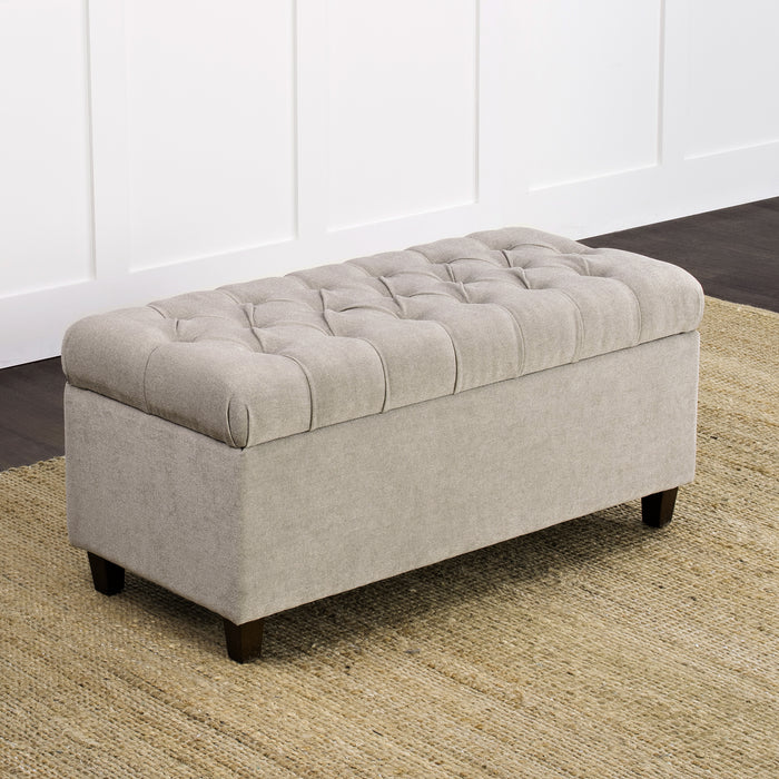 Button Tufted Storage Bench - Textured Gray