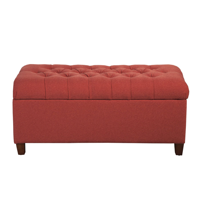 Button Tufted Storage Bench -  Cranberry