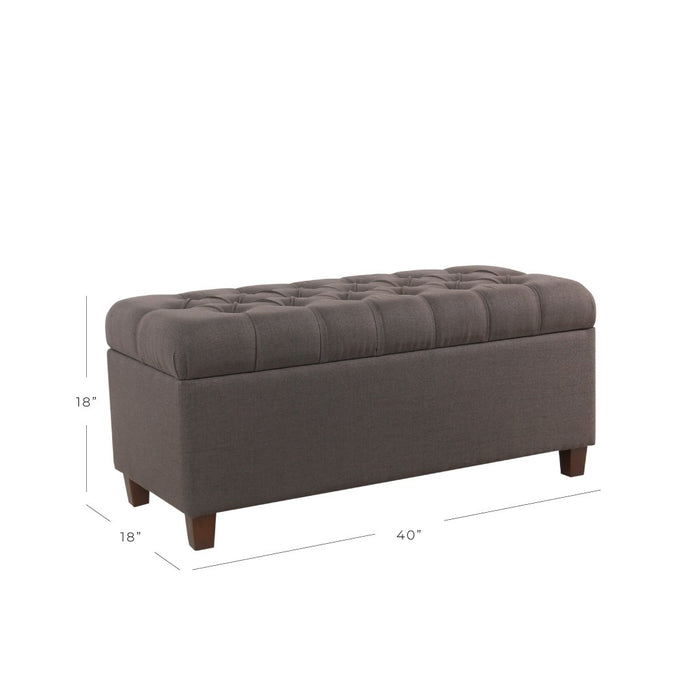 Button Tufted Storage Bench - Dark Charcoal Gray