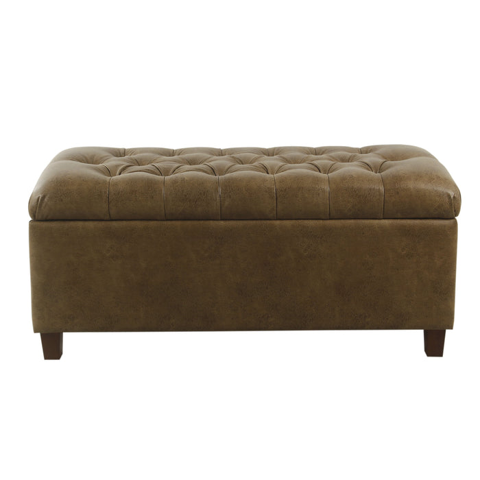 Button Tufted Storage Bench - Distressed Brown Faux Leather