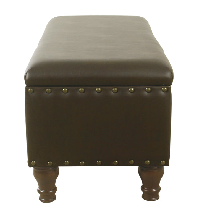 Large Storage Bench with Nailhead Trim -Brown Faux Leather