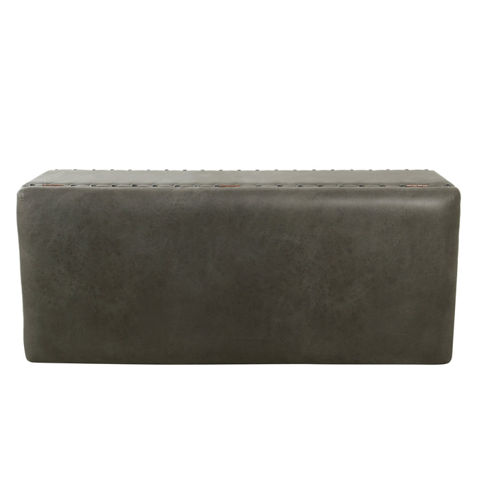Large Storage Bench with Nailhead Trim - Gray Faux Leather