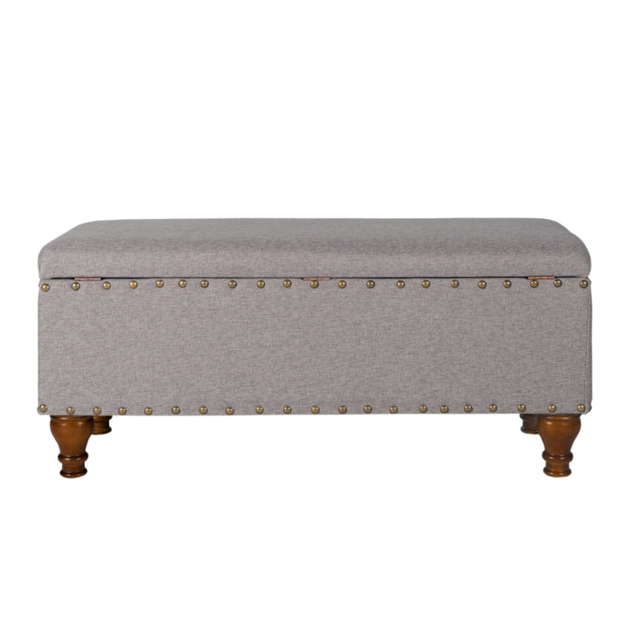 Large Storage bench with Nailhead Trim - Gray Woven